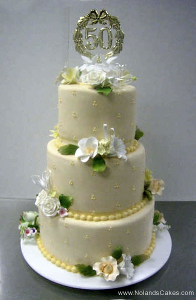 2439, tiered, three tiers, flowers, white, yellow, orange, flowers, 50th, fifty, cream, gold