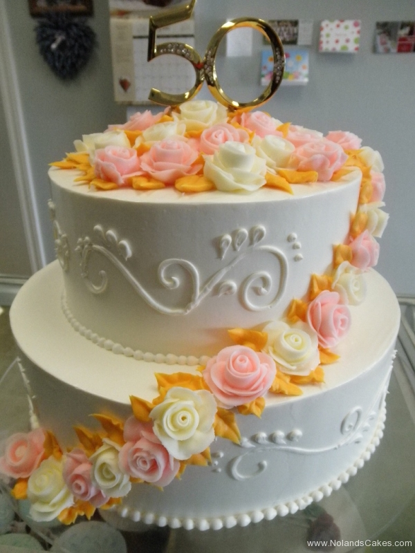 2447, 50th, fiftieth, gold, pink, white, orange, roses, flowers,