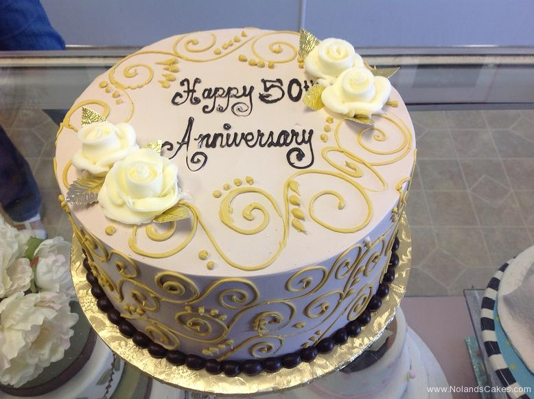 2453, 50th, fiftieth, gold, piping, roses, flowers, white, swirls