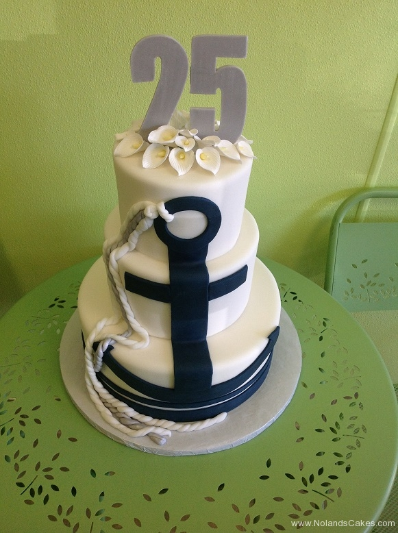 2458, 25th, twenty fifth, anchor, tiered, three tiered, 25, grey, black, white, rope, anchor, flowers, lilies, calla lilly,