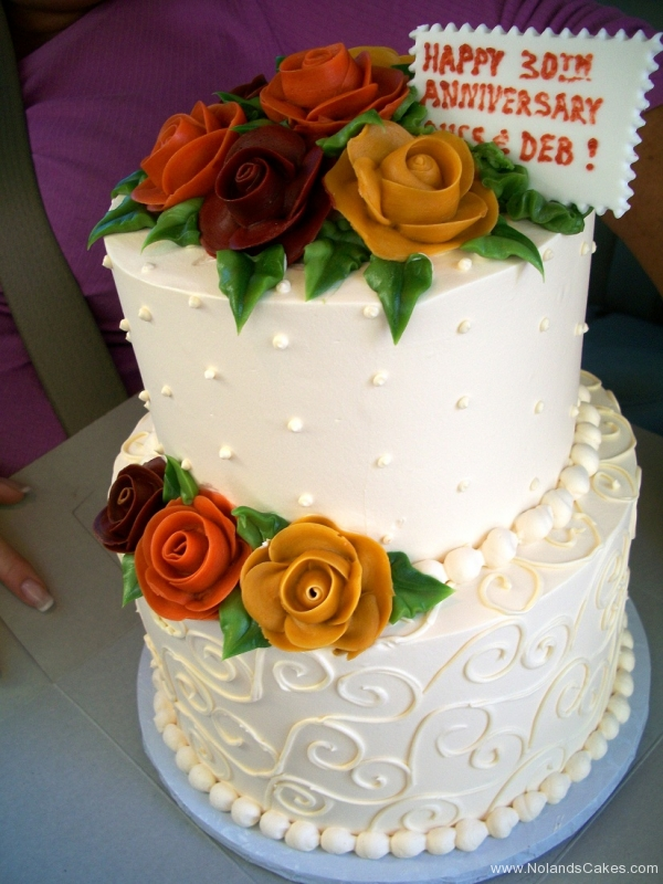 2537, white, two tier, tiered, yellow, orange, red, roses, flowers, 30th, thirtieth