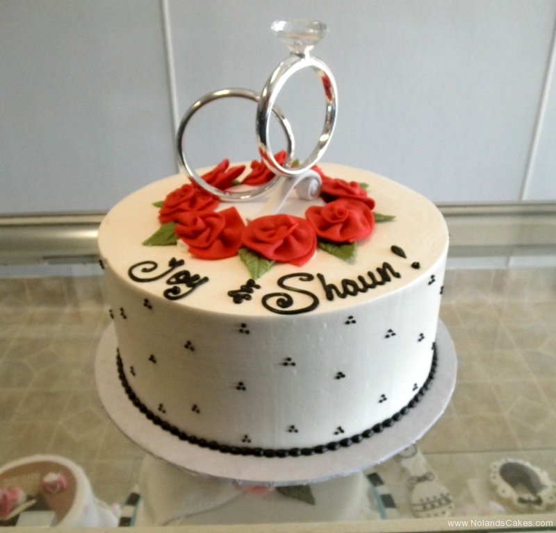 2546, engagement, marriage, rings, silver, red, black, red flowers, flowers, roses, topper, dots