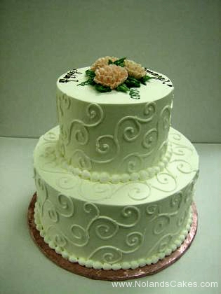 2551, piping, swirls, white, tiered, two tiered, pink, orange, coral, roses, flowers