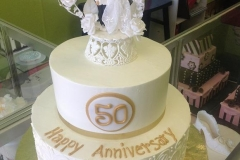 2491, tiered, two tiered, 50, 50th anniversary, fiftieth, white, gold, wedding figurines, topper
