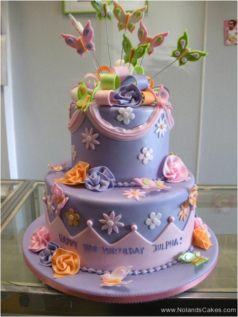 249, 18. 18th birthday, tiered, two tiered, purple, orange, flowers, butterflies, butterfly, topper, yellow, green