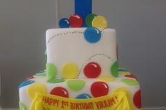 118, 1st birthday, first birthday, bouncy balls, red, yellow, green, blue, tiered, birthday