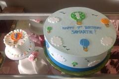 125, 1st birthday, first birthday, hot air balloons, hot air balloon, smash cake, sky, clouds, blue, birthday