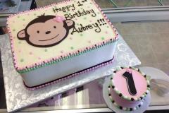 130, 1st birthday, first birthday, birthday, monkey, pink, white, green, smash cake