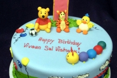 141, 1st birthday, first birthday, birthday, winnie the pooh, pooh, tigger, chick, thomas the tank engine, thomas, soccer, balloons, sky, clouds, caterpillar, blue, green