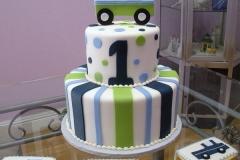 143, 1st birthday, first birthday, birthday, truck, blue, green, stripe, stripes, dots, polka dots, white