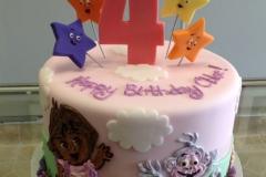 1840, fourth birthday, 4th birthday, star, stars, dora the explorer, monkey, pink, red, blue, yellow, green