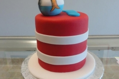 1861, birthday, seuss, dr seuss, cat in the hat, red, stripe, fish, bowl, water, white, blue