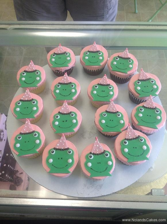 722, frogs, green, party hat, pink, polka dots, cute, animals, baby