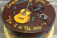 2897, guitar, microphone, music, music notes, blue, yellow, brown