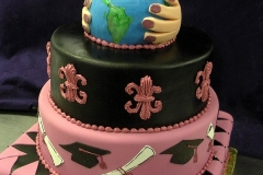 2888, tiered, four tiered, tiers, pink, black, earth, hands, planet, cap, diploma, world, blue, green