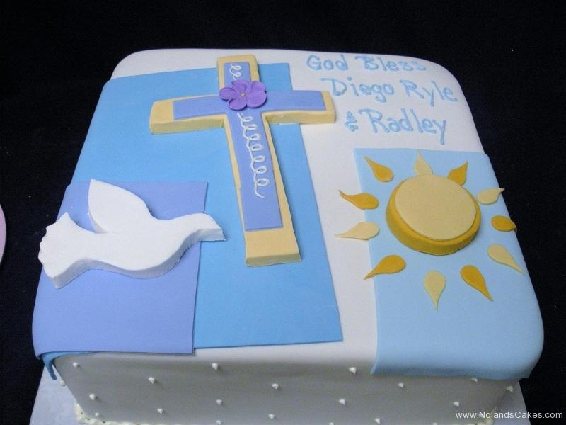 615, cake, square, christian, catholic, bird, cross, blue, dove, white, sun, gold, flowers, purple,
