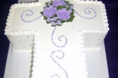 584, white, purple, flowers, roses, cross, carved