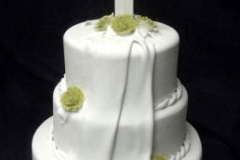 597, white, tiered, three tiered, cross, topper, flowers, roses, green, drape, fold. train, veil, elegant