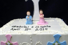 638, twins, boy, girl, pink, blue, cross, first communion,  communion, white, square, topper, children