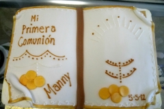 659, communion, first communion, book, carved, bible, gold, white, candles, orange, brown, bronze, coins, simple