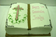 646, book, carved, bible, holy communion, first communion, communion, cross, roses, pink, green, leaves, baby girl, girl, gold, white