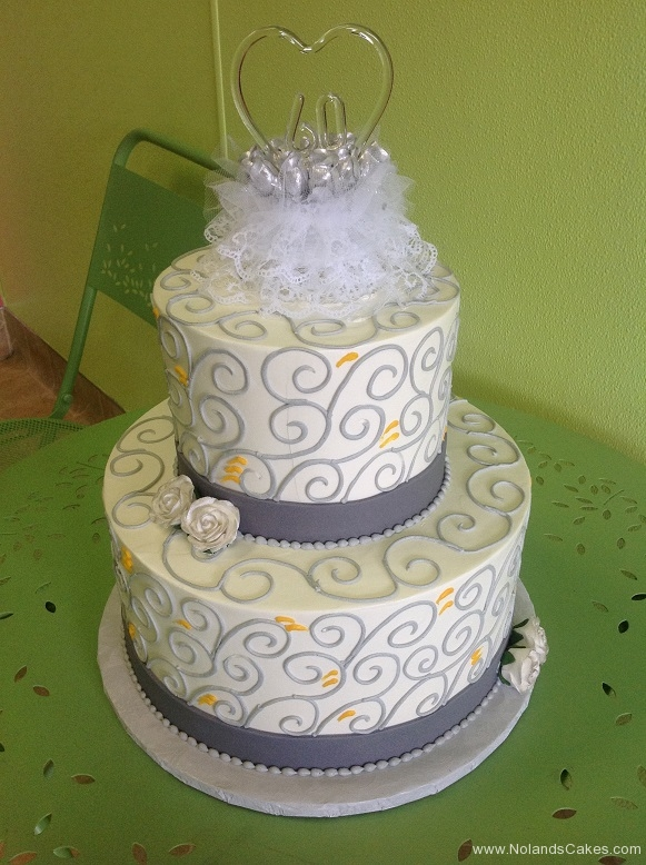 2466, 60th, sixtieth, two tier, tiered, grey, swirls, yellow, lace, topper, flowers, white, roses