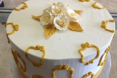 2443, gold, roses, flowers, white, 50th, fiftieth anniversary, round