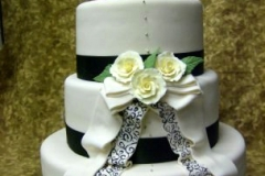2549, tiered, three tiered, white, roses, black, drapes, 40th, fortieth, layers,