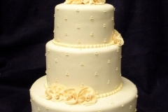 2555, tiered, three tiered, white, swiss dots, yellow, roses, flowers, pale, soft