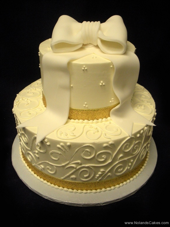 2560, white, bow, gold, piping, swiss dots, tiered, two tiered