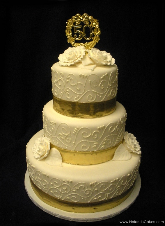 2558, tiered, three tiered, gold, white, roses, 50, 50th, fiftieth, piping, swirls