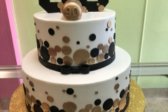 3103, 90th birthday, ninetieth birthday, gold, white, black, circles, dot, dots, bubbles, tiered