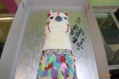 3253, 35th birthday, thirty fifth birthday, alpaca, llama, festive, mexican, peruvian, white, blue, purple, red, yellow, carved