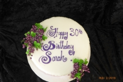 3108, 30th birthday, thirtieth birthday, grapes, grape, scrollwork, scroll, scrolling, white, purple