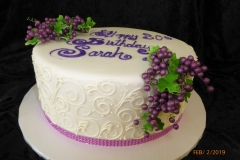3109, 30th birthday, thirtieth birthday, grapes, grape, scrollwork, scroll, scrolling, white, purple