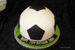 3110, 70th birthday, seventieth birthday, soccer ball, futbal, black, white, green, carved, grass
