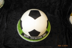 3111, 70th birthday, seventieth birthday, soccer ball, futbal, black, white, green, carved, grass