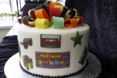3116, birthday, 80's, theme, pacman, guitar, music, mix tape, i heart 80's, edible image, bow, bows, bright, white, orange, yellow, blue