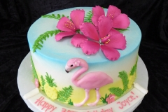 3333, 30th birthday, thirtieth birthday, flamingo, hibiscus, pink, tropical, pineapple, hawaii, blue, green, ocean, water, sea