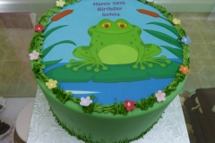 3347, 50th birthday, fiftieth birthday, frog, edible image, green, blue, flower, flowers