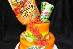 3358, birthday, cheetos, mountain dew, chips, soda, orange, green, spicy, green, tiered