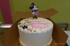 3380, birthday, minnie mouse, disney, minnie, pink, white, black, flowers, flower, topper