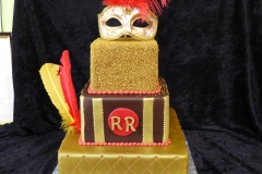 3408, birthday, 50th birthday, fiftieth birthday, mask, masquerade, red, gold, yellow, black, tiered