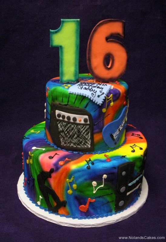 268, 16th birthday, sixteenth birthday, music, brights, guitar, speaker, rainbow, tyedye. tiered