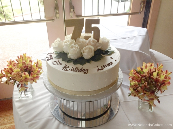 270, 75th birthday, seventy fifth birthday, flower, flowers, white, gold