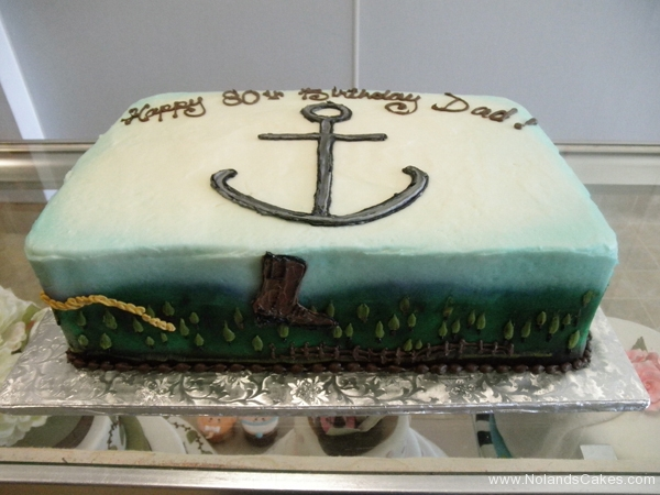 276, 80th birthday, eightieth birthday, cowboy, anchor, navy, boot, boots, blue, white, green