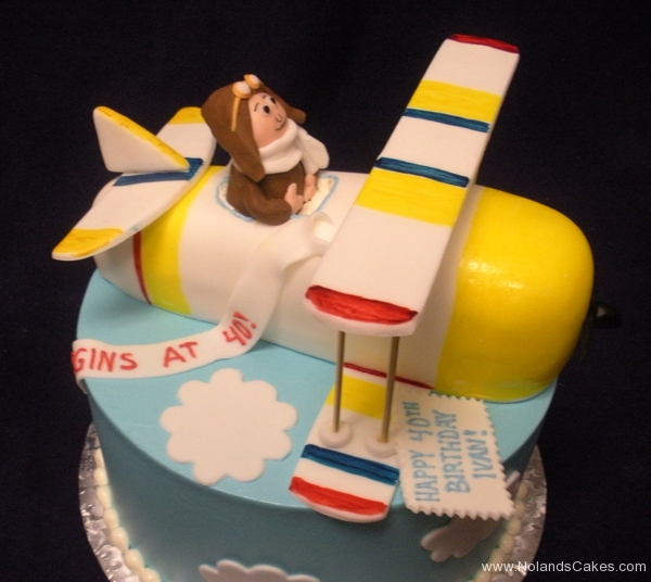 292, 40th birthday, fortieth birthday, airplane, plane, flying, figure, figures, tiered, carved, biplane, yellow, blue, white, pilot