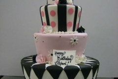 252, 21, 21st birthday, black, white, pink, tiered, three tier, stripes, 21, topper, dots, diamonds, zig zags, flowers, daisies, roses,