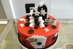 262, 50th birthday, fiftieth birthday, poker, cards, dice, poker chips, star, stars, ribbon, bow, bows, black, white, red