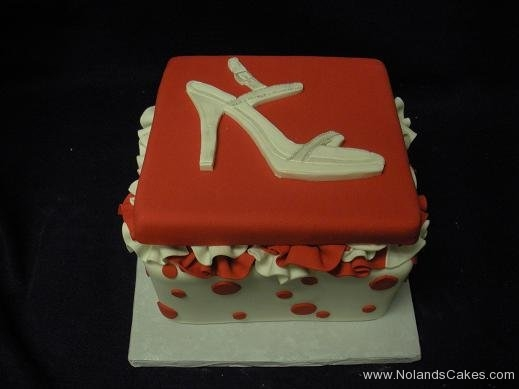 441, high heel, stiletto, shoe, white, red, square, box, polka dots